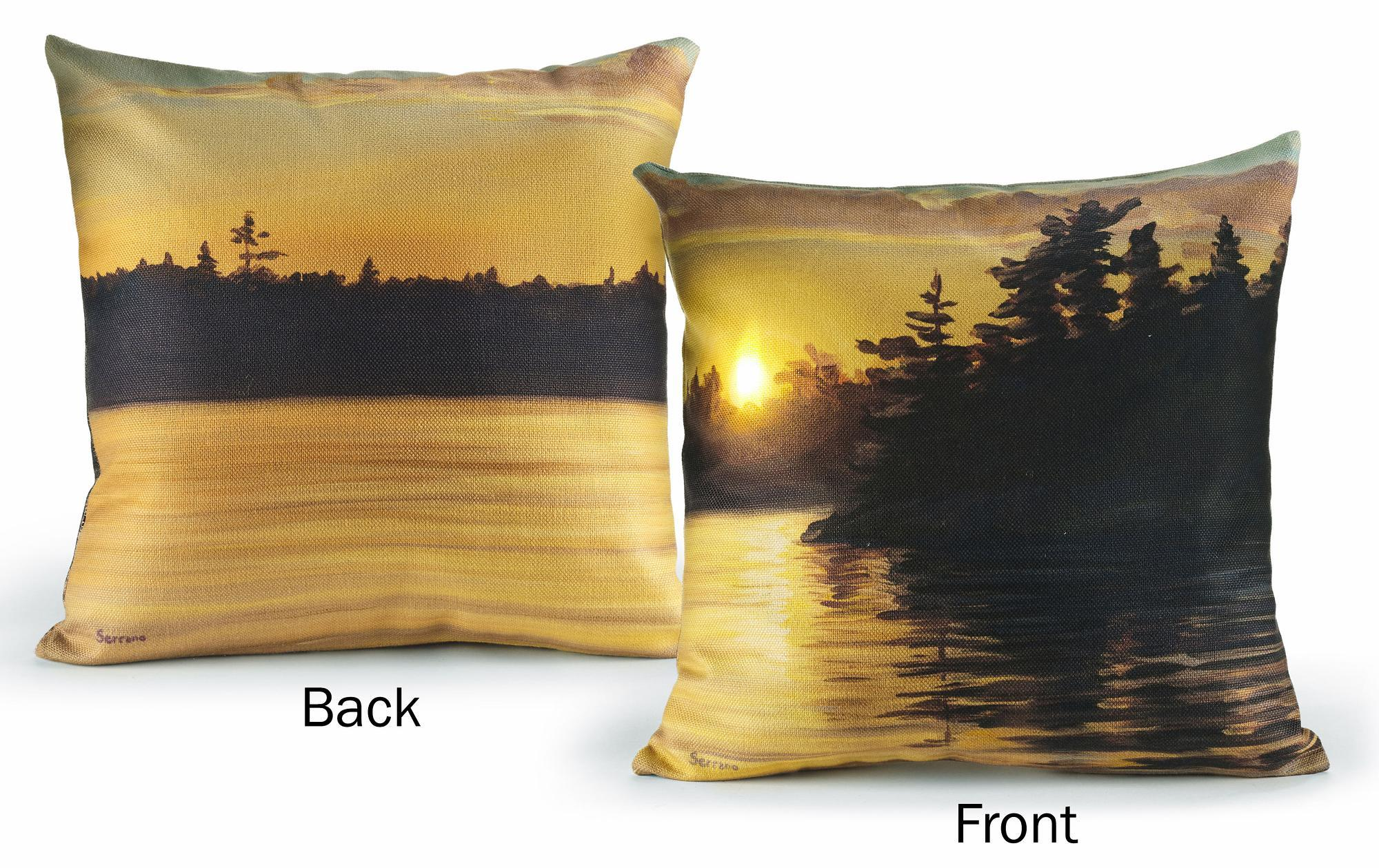 "Setting Sun-Lake 18"" Lighted Pillow"