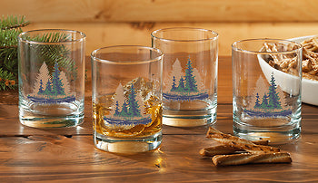 Misty Forest Double Old Fashioned Glasses