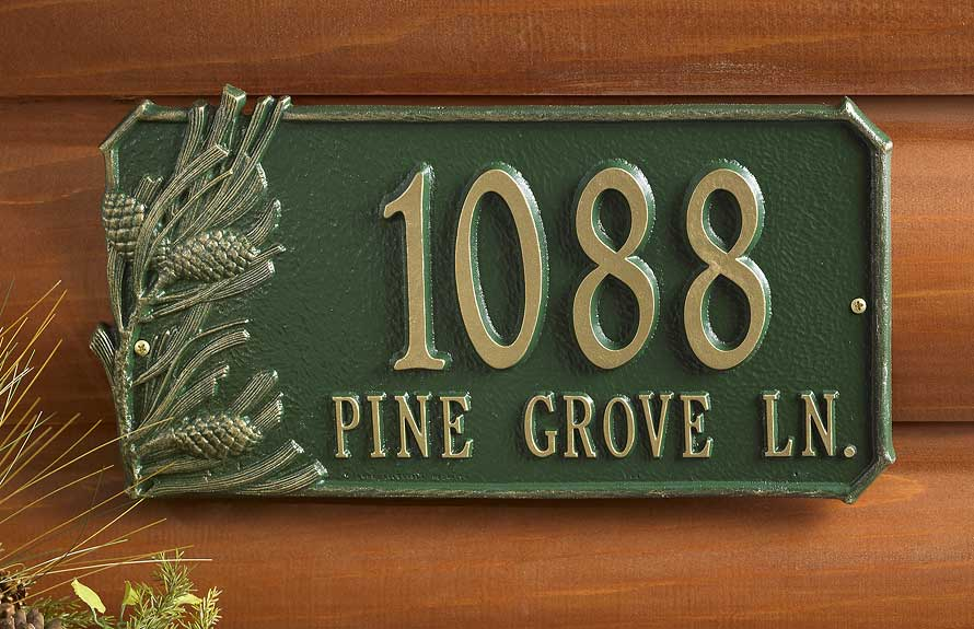 Pinecones Address Plaque