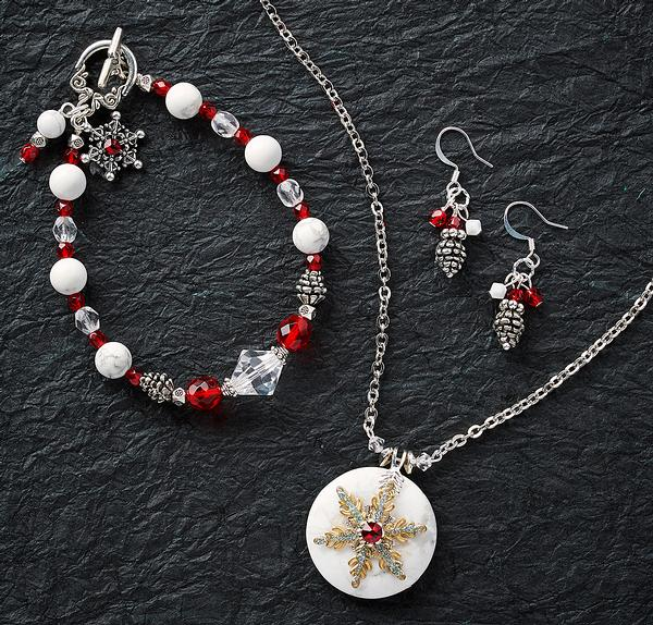 Pinecone and Ruby Necklace, Earrings & Bracelet