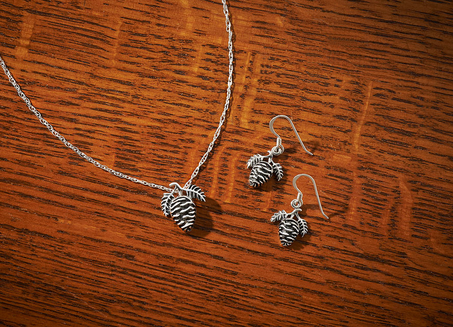 Sterling Silver Pinecone Necklace & Earrings
