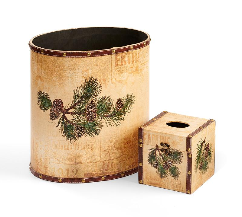 Pinecone Wastebasket & Tissue Set