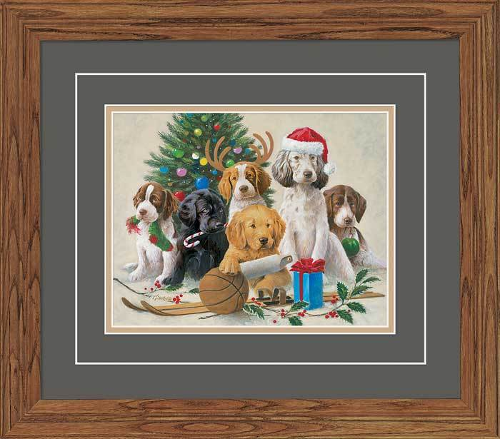 Holidaze—puppies Gna Deluxe Framed Print
