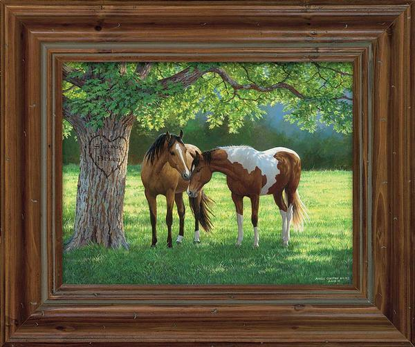 <I>Quiet Moment&mdash;horses</i> Personalized Framed Canvas