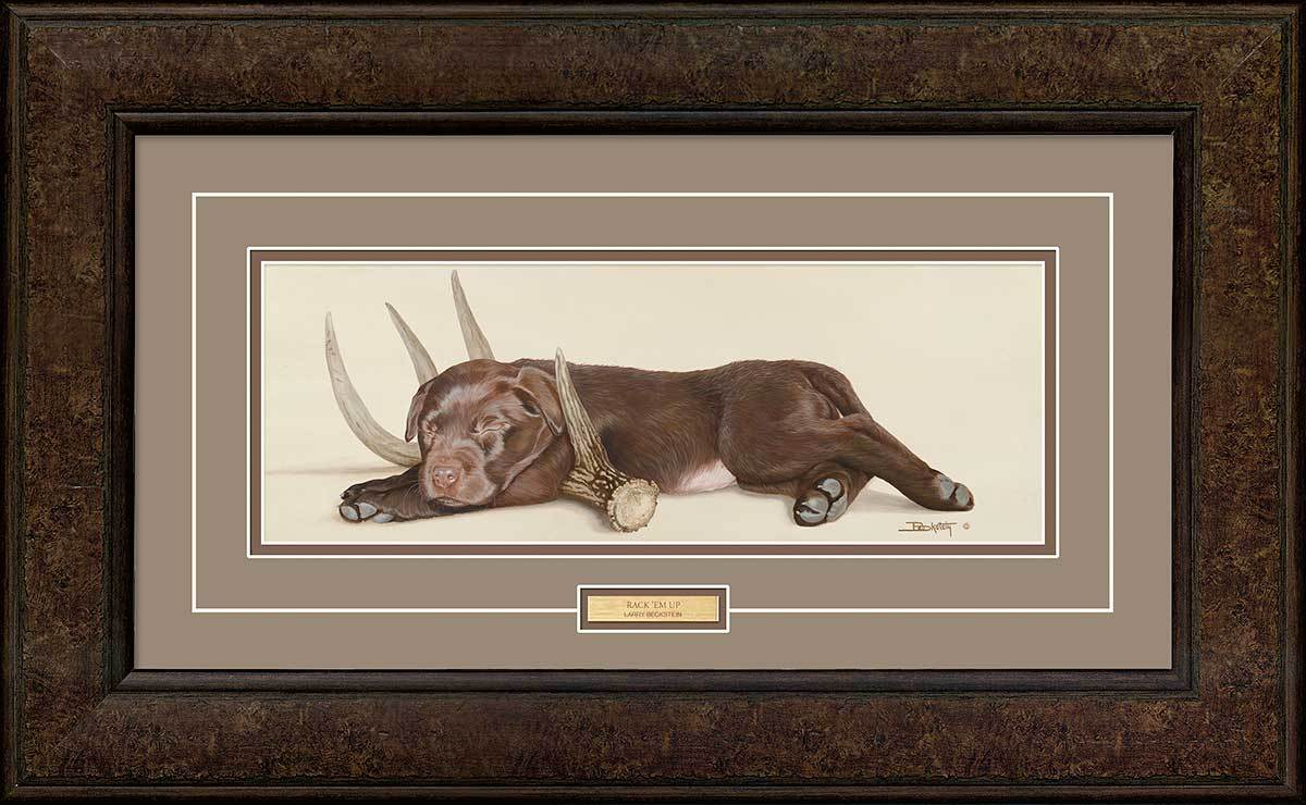 <I>Rack Em Up&mdash;chocolate Lab</i> Framed Print<Br/>16.25H X 28.75W Art Collection
