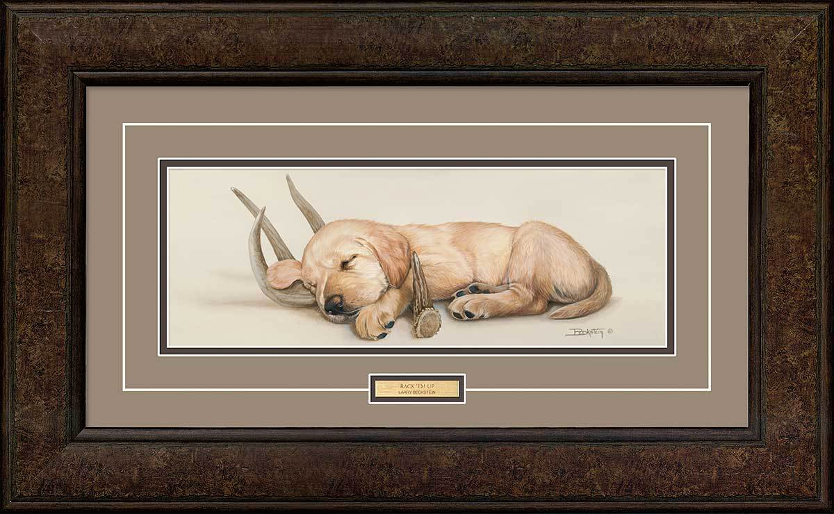 <I>Rack Em Up&mdash;yellow Lab</i> Framed Print<Br/>17.25H X 28.5W Art Collection