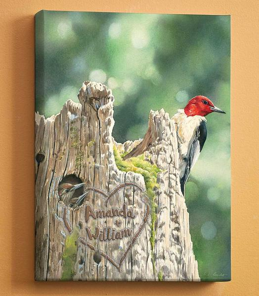 <I>Red-Headed Woodpecker & Family</i> Personalized Wrapped Canvas<Br/>18H X 13W Art Collection