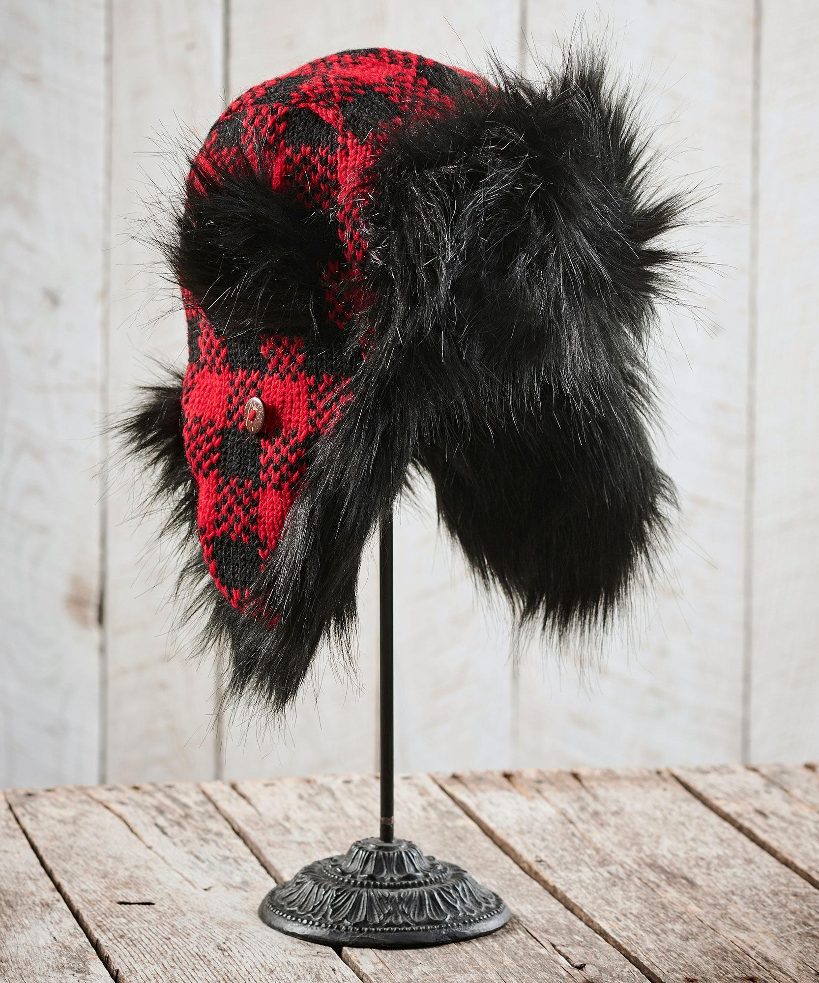 Red Plaid Bomber Hat