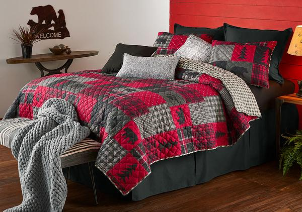 Red Plaid Cabin Bedding Set