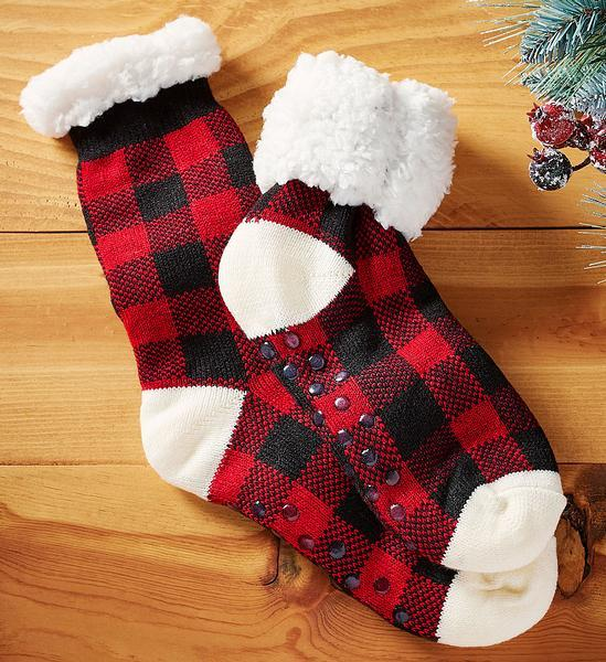 Buffalo Check Plaid Plush Socks
