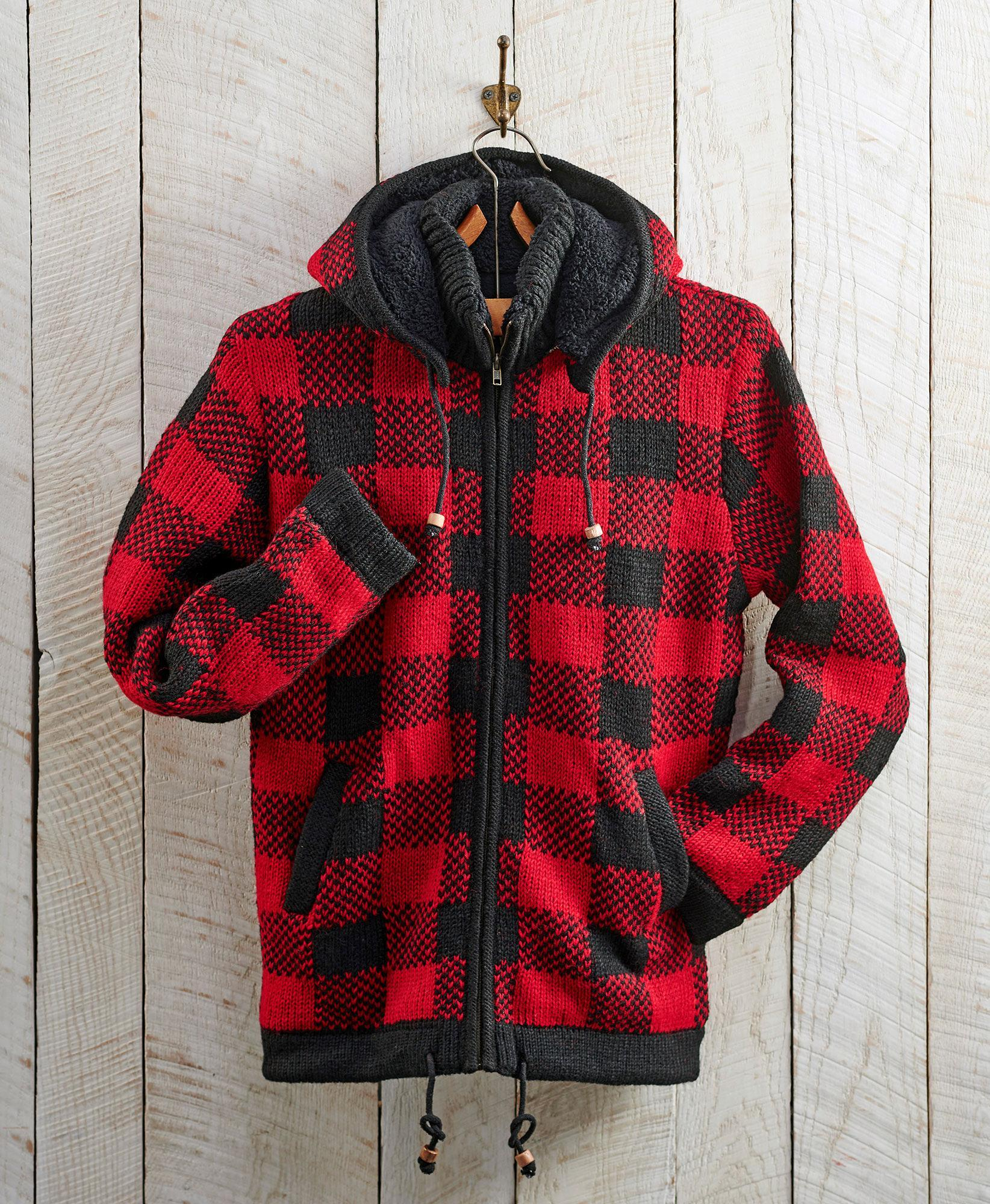 Red Plaid Sweater Jacket