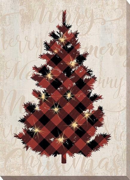 Red Plaid Tree Lighted Wrapped Canvas