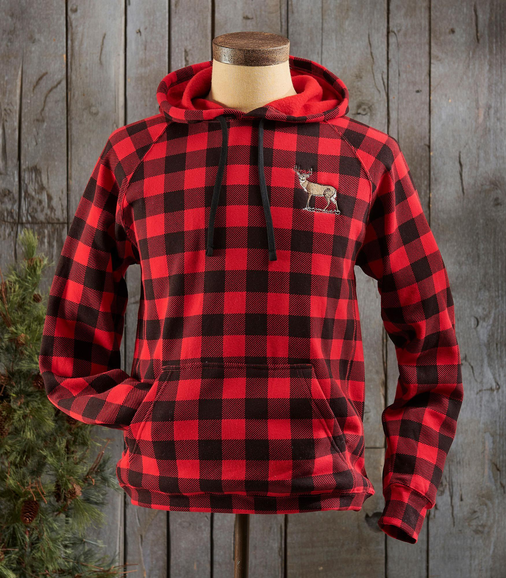 Red Plaid Whitetail Deer Hooded Sweatshirt