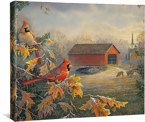 <I>Red River Crossing&mdash;cardinals</i> Gallery Wrapped Canvas