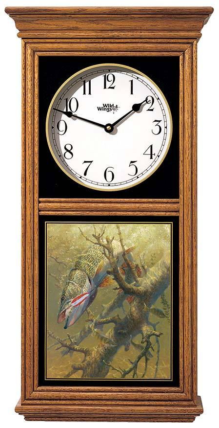 <I>Hung Up&mdash;northern Pike</i> Regulator Clock