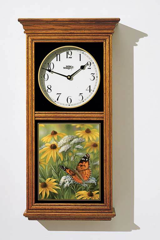 <I>Painted Lady Butterfly Regular Clock</i> Regulator Clock