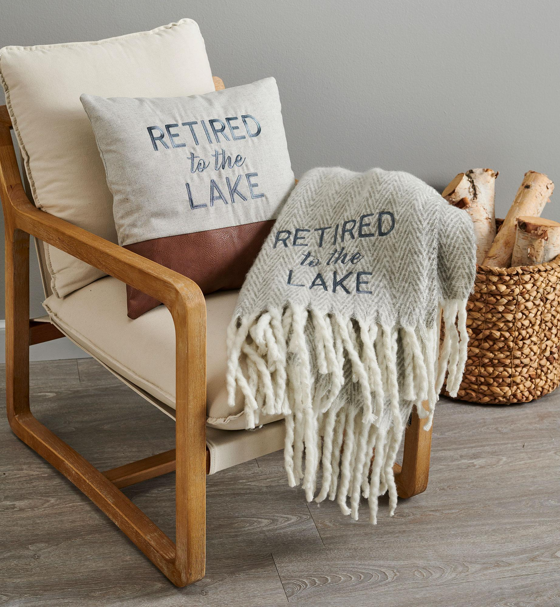Retired to the Lake Throw and Pillow
