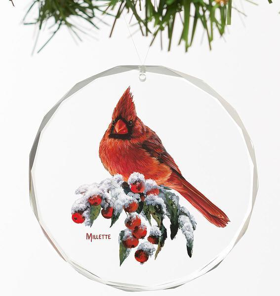 <I>Winter Gems&mdash;cardinal</i> Round Glass Ornament