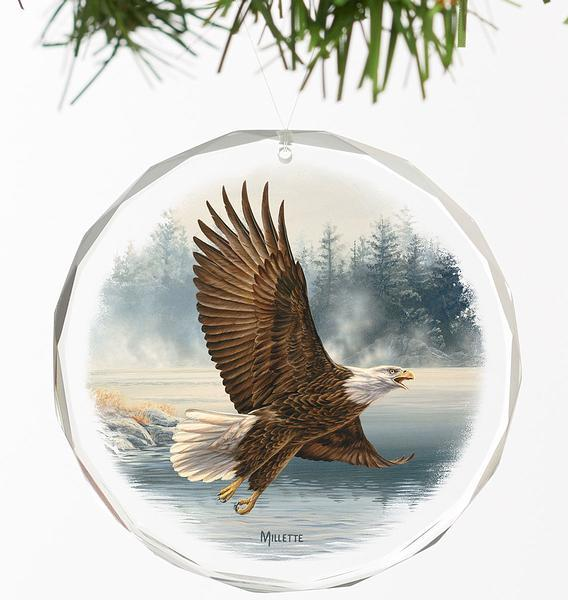 <I>Majestic Flight&mdash;eagle</i> Round Glass Ornament