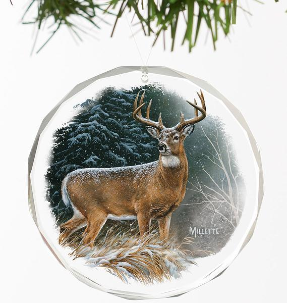 <I>In The Storm&mdash;deer</i> Round Glass Ornament