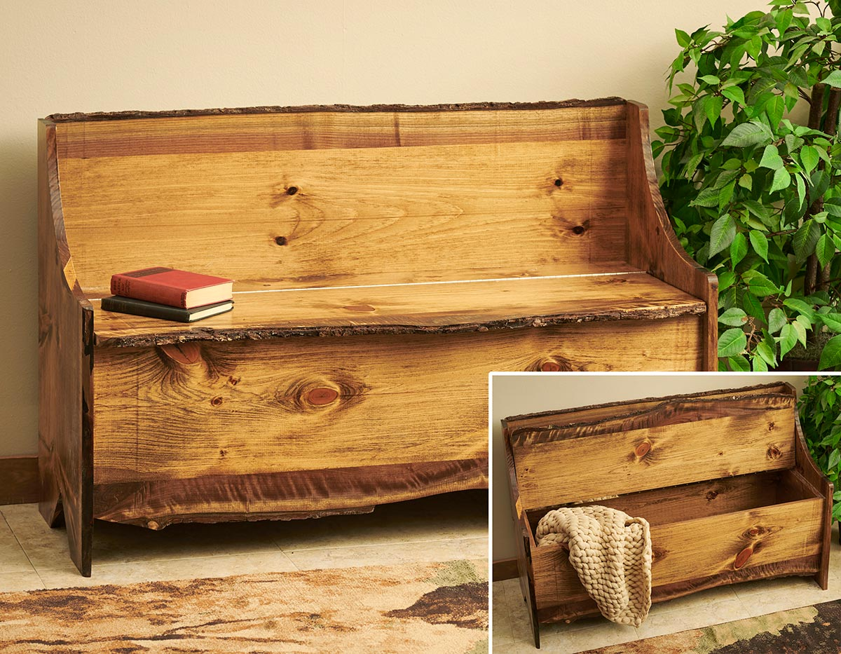 Rustic Pine Storage Bench