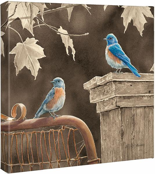 <I>Rusty Gate&mdash;bluebird</i> Gallery Wrapped Canvas