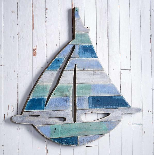 Sailboat Natural Wood Wall Decor