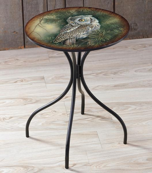 Screech Owl Metal Side Table