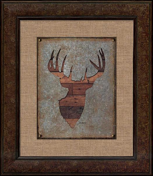 Deer Head Silhouette Framed Tin Sign