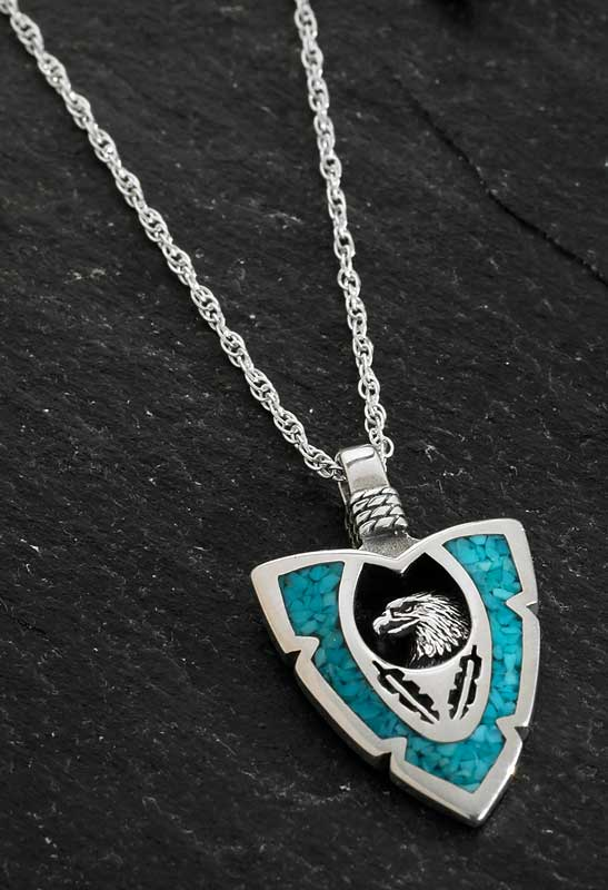 Silver & Turquoise Eagle Necklace