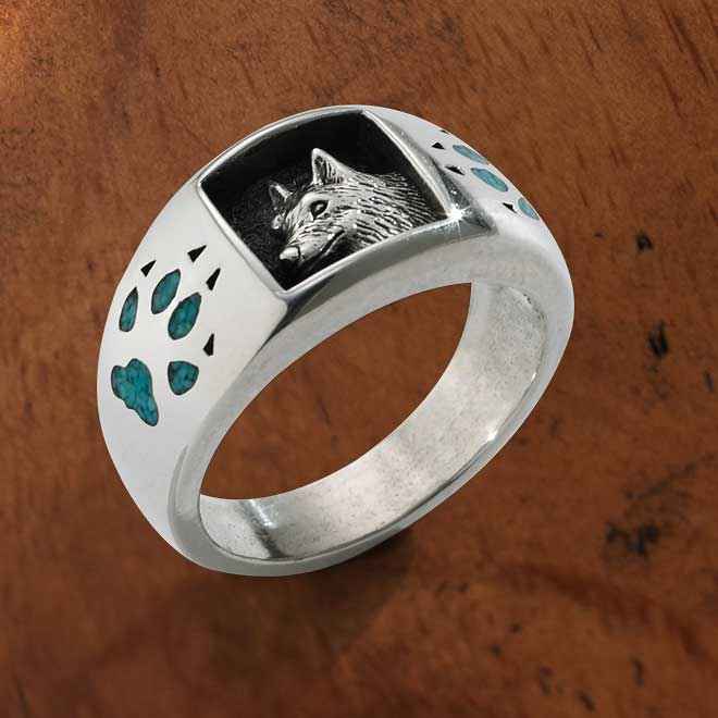 Turquoise & Silver Wolf Paw