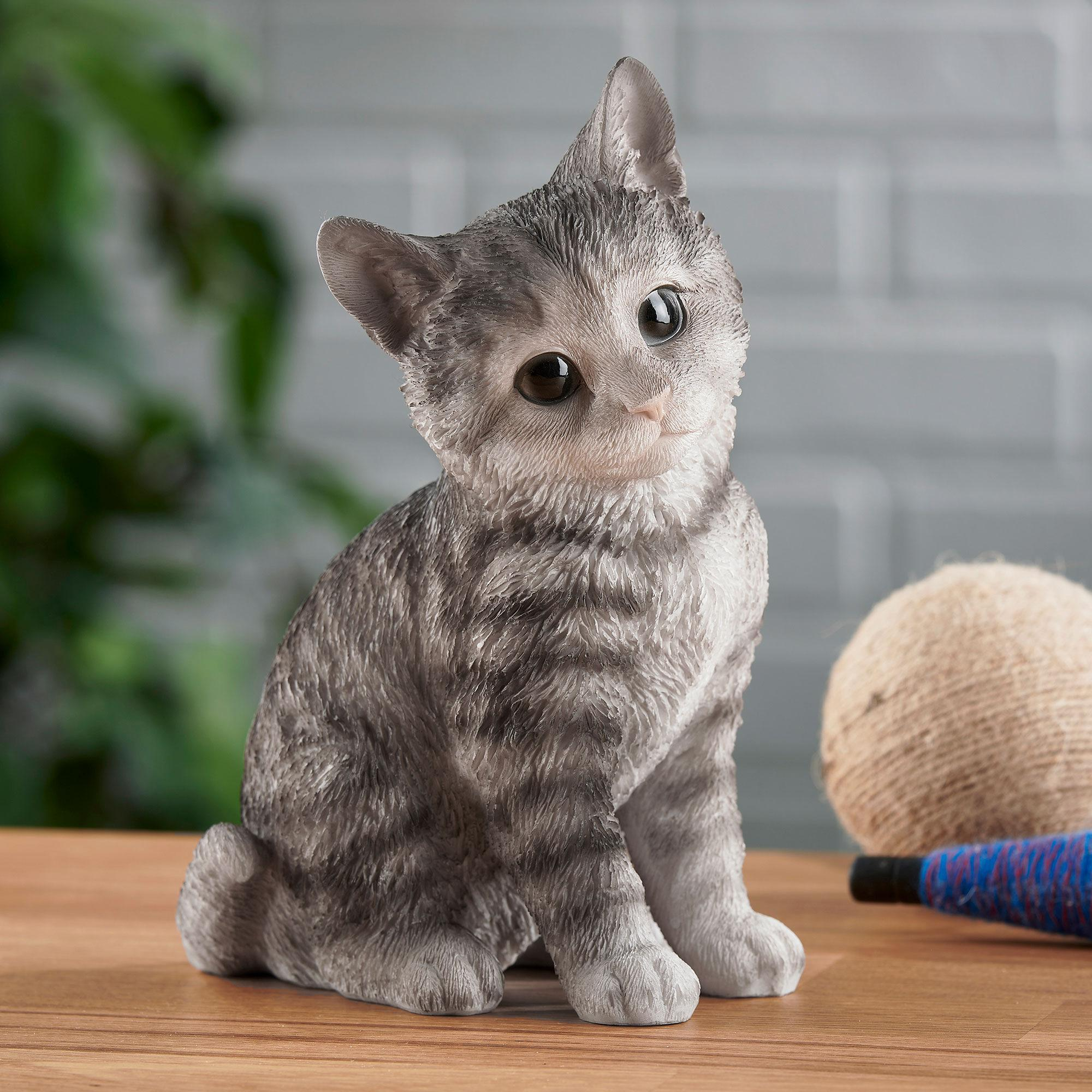 Sitting Gray Tabby Kitten Sculpture