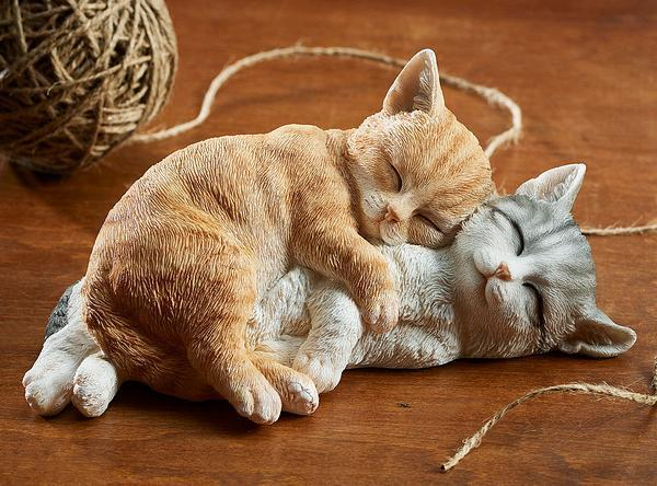 Sleeping Orange & Gray Cats Sculpture