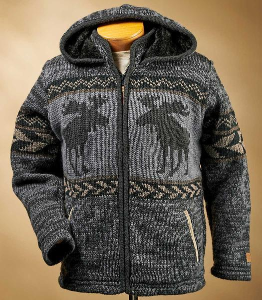 Moose Country Wool Hooded Sweater Jacket