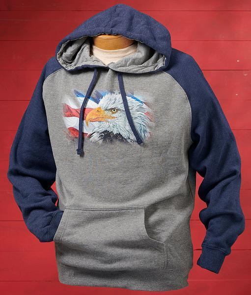 Eagle And Flag Hooded Sweatshirt
