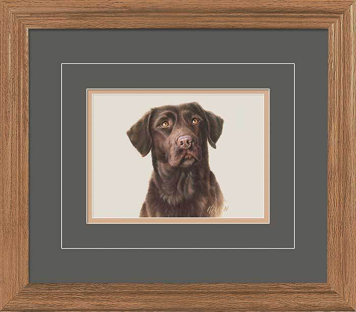 Chocolate Lab Portrait Gna Deluxe Framed Print