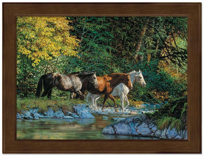 <I>Bear Creek Crossing&mdash;horses</i> Framed Studio Canvas<Br/>17H X 22W Art Collection