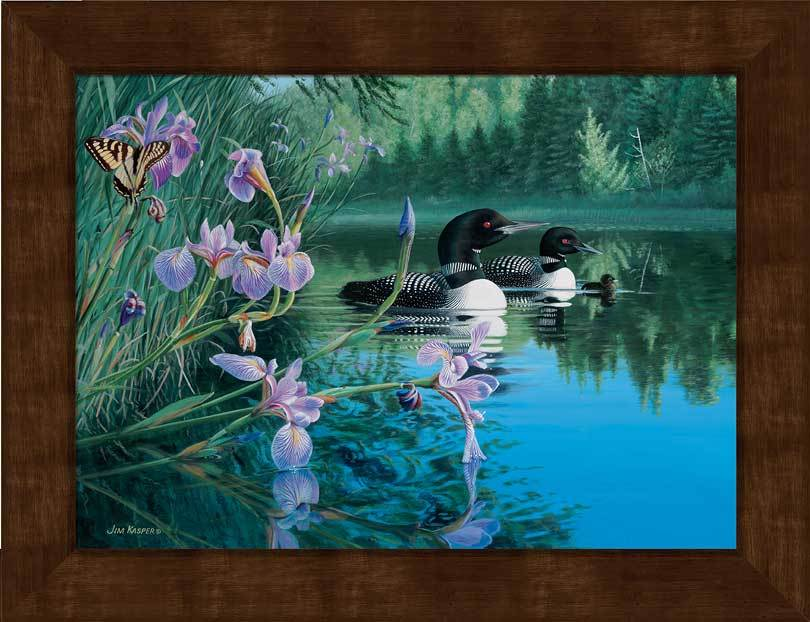 <I>Iris Cove&mdash;loons</i> Framed Studio Canvas<Br/>17H X 22W Art Collection