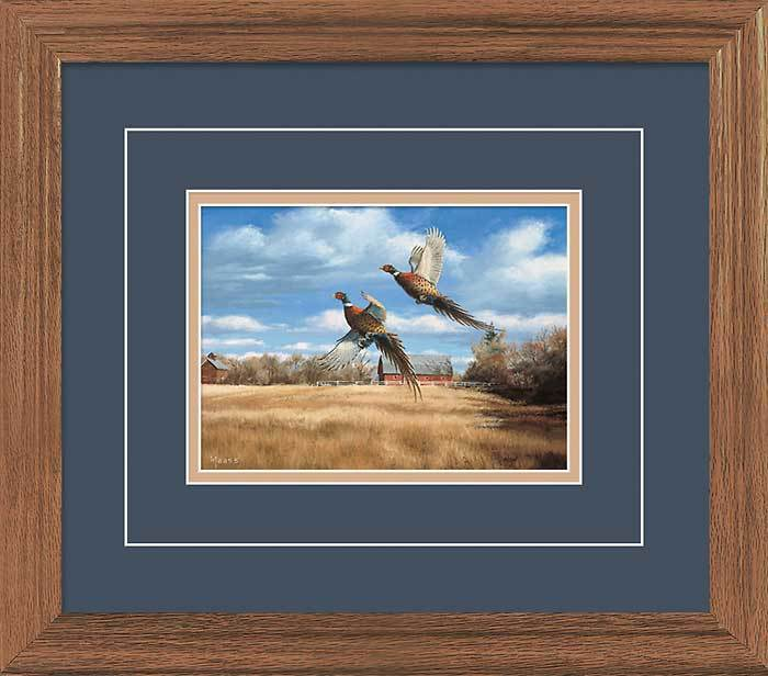 Autumn Roosters—pheasants Gna Deluxe Framed Print