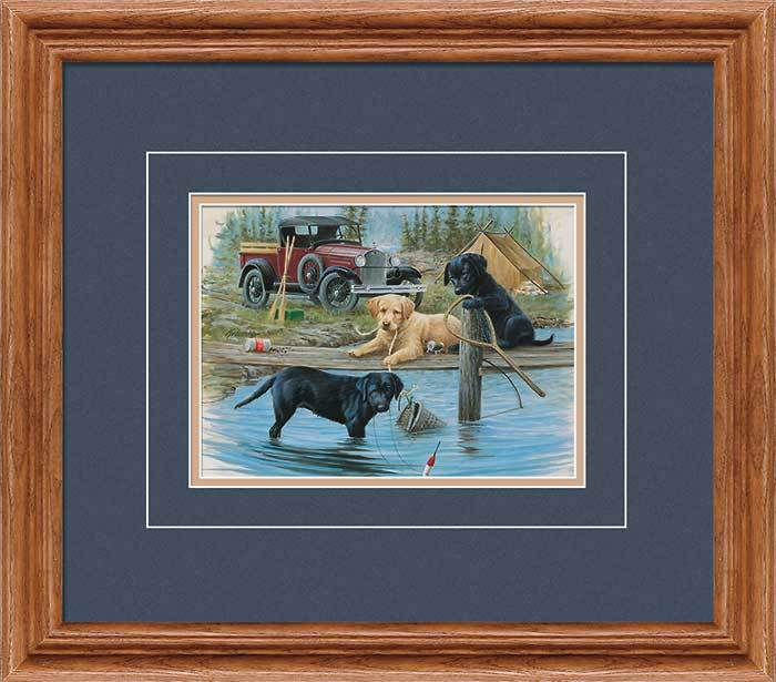 Fishing Trip—puppies Gna Deluxe Framed Print