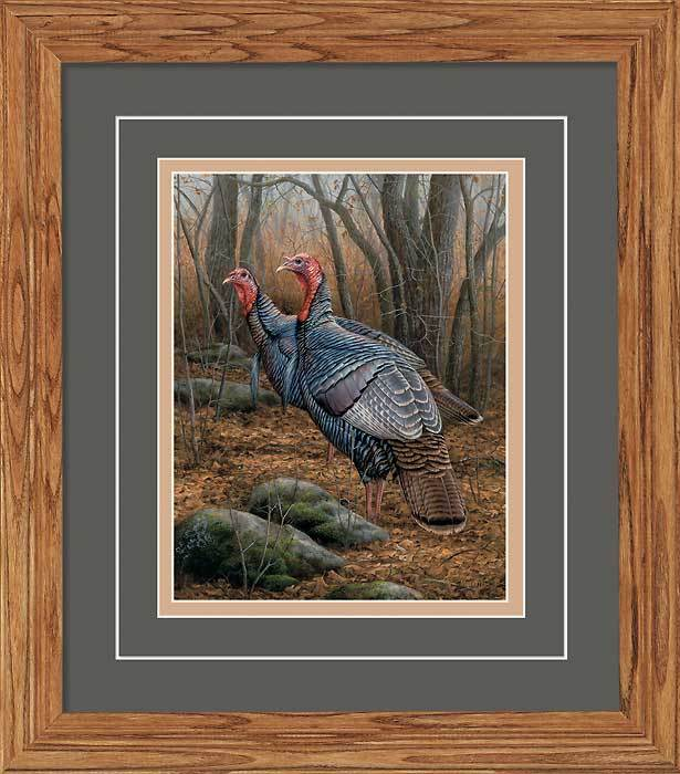 Autumn Duo—turkeys Gna Deluxe Framed Print