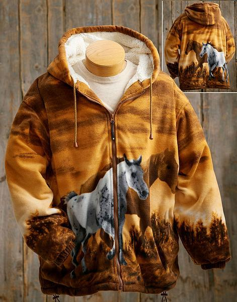 Horses Sherpa-Lined Hooded Jacket