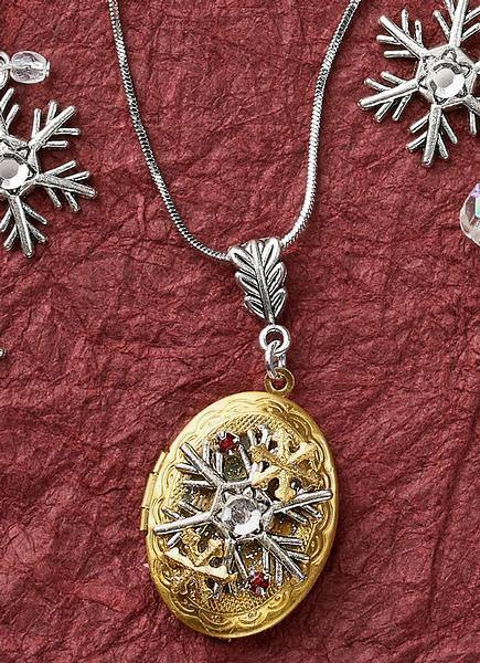 Snowflake Locket Necklace