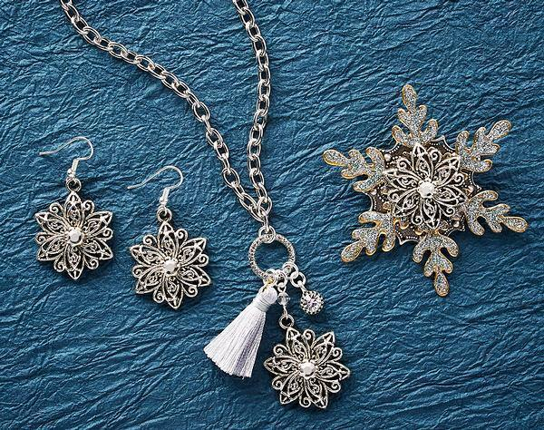 Snowflower Necklace, Earrings & Bracelet