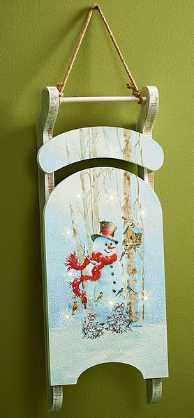 Snowman Wooden Sled.