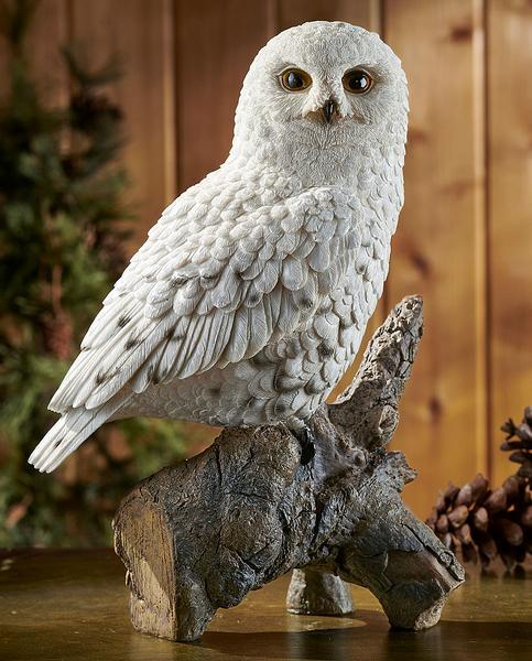 Perched Snowy Owl Sculpture
