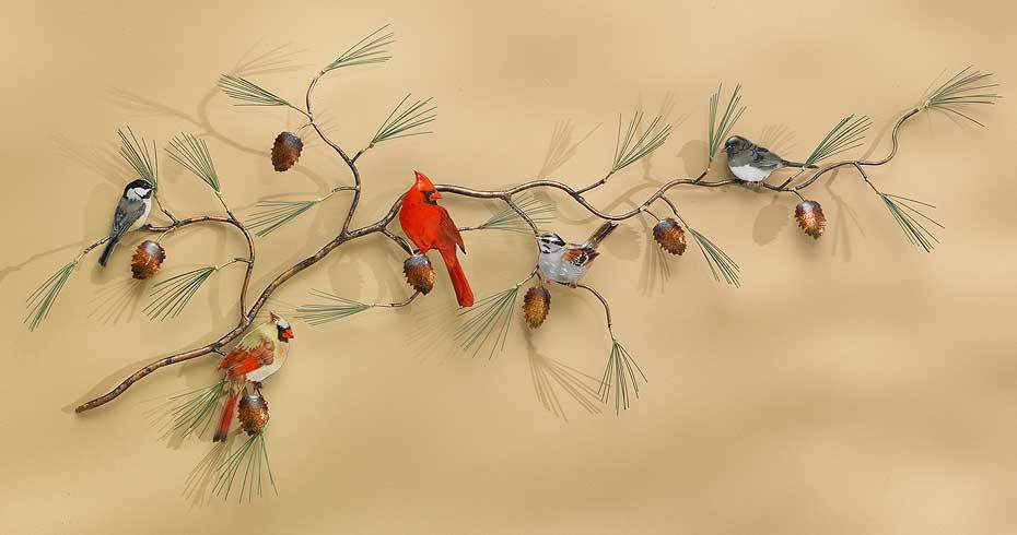 Songbirds on Pine Bough.