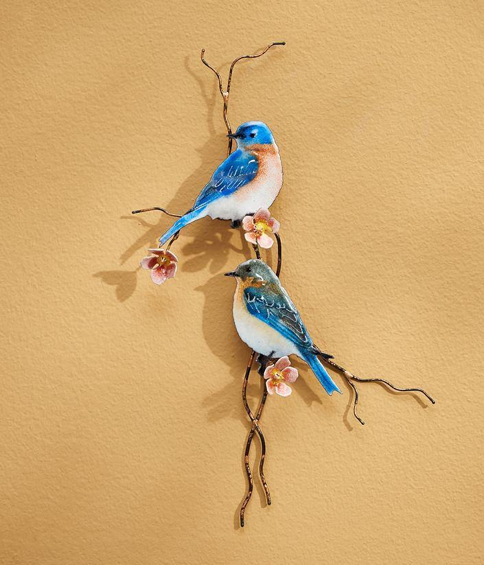 Bluebirds Enamel Wall Art