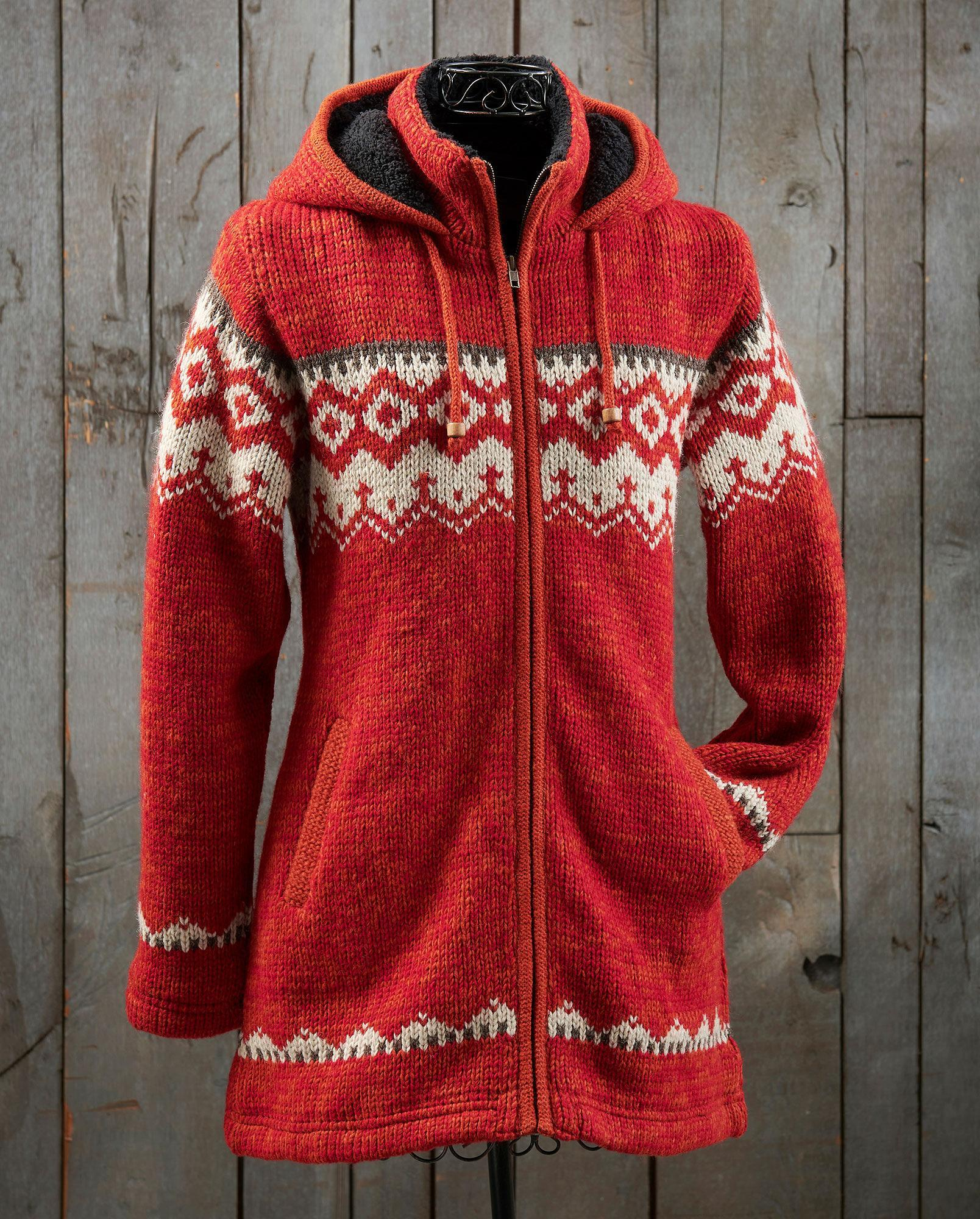 Southwest Red Long Sweater Jacket