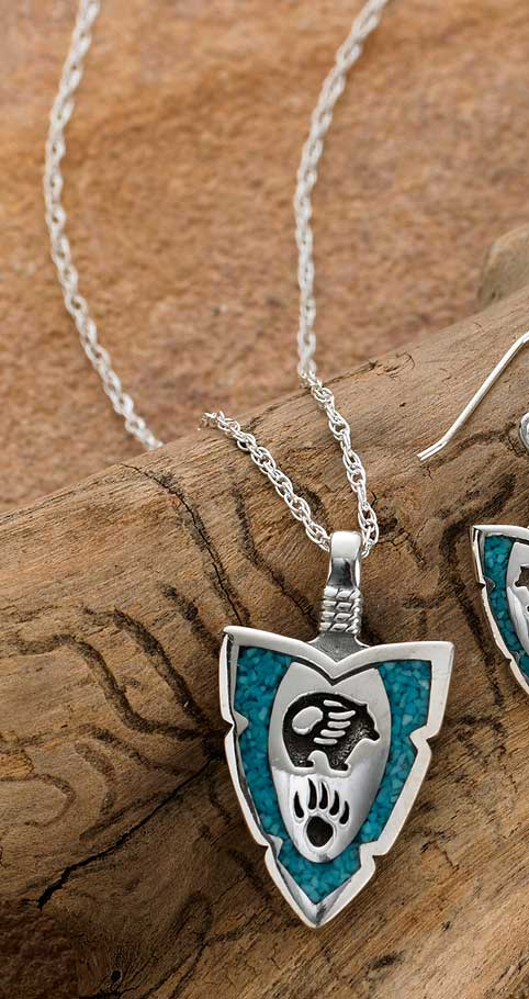 Silver & Turquoise Bear Paw Necklace